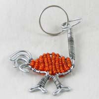 African Hut Beaded Keyring Ostrich Orange Color 28g