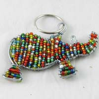 African Hut Beaded Keyring Rhino Multi-Colored 28g - African Hut