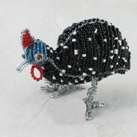 African Hut Beaded Guinea Fowl Statue Small Size (Approx. 3 Inches Tall) 73g