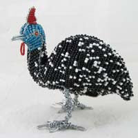 African Hut Beaded Guinea Fowl Statue Medium Size (Approx. 6 Inches Tall) 268g