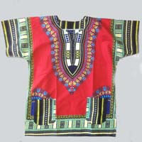 African Hut African Cotton Shirt Red (Size Mens Medium) 140g