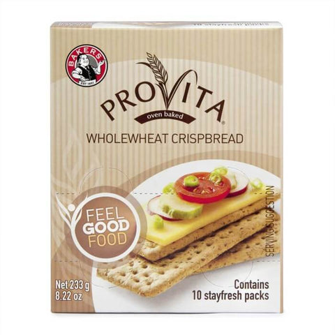 Bakers Provita - Original Whole Wheat Crispbread (Pack of 10 Stay Fresh Packs) (Kosher) 233g