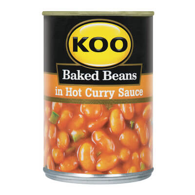 Koo Baked Beans - with Hot Curry Sauce (Kosher) 410g