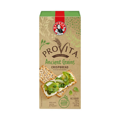 Bakers (Pyotts) Ancient Grains Provita Whole Wheat Crispbread (Kosher) 250g