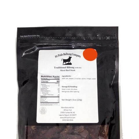 SA Pride Biltong - Traditional (with Fat) Sliced Beef Steak  0.5lb - African Hut
