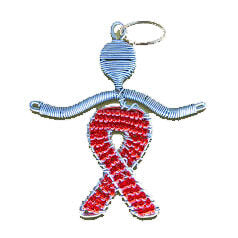 African Hut Aids Support Wire and Beaded Keyring 25g - African Hut