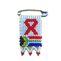 African Hut Beaded Pin Badge with South African Flag and Aids Supprt Ribbon 10g - African Hut