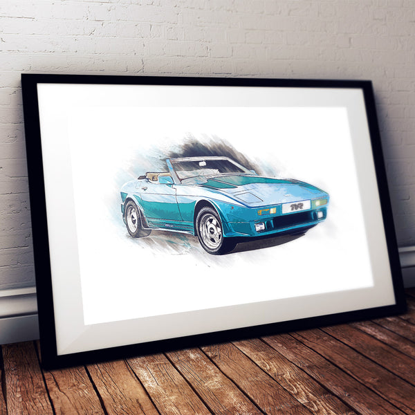 "TVR ""Wedge"" (400SE) - Light Blue - A3/A4 Print ""Splatter"""