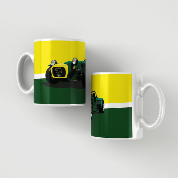 Caterham 7 - Dark green / yellow stripe mug