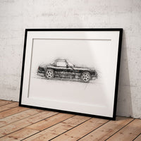 "TVR Chimaera - Black - A3/A4 Print ""Sketch"""