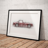 "TVR Chimaera - Dark Red - A3/A4 Print ""Sketch"""