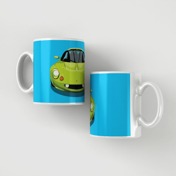 Lotus Elise S1 - Scandal Green on blue mug