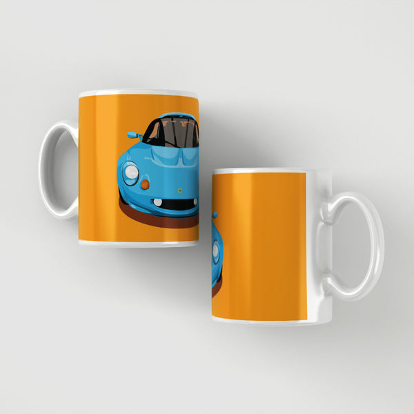 Lotus Elise S1 - Mexico Blue on orange mug