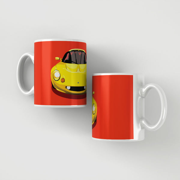 Lotus Elise S1 - Norfolk Mustard Yellow on red mug
