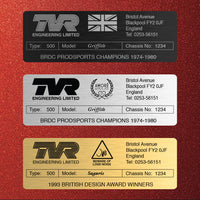 TVR Build Plaque / Plate - personalised / customisable