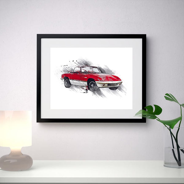 "Classic Lotus Elan Sprint - red/white - A3/A4 Print ""Splatter"""