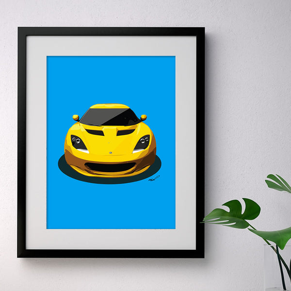 Lotus Evora - yellow on blue - A3/A4 Stylised Print