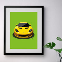 Lotus Evora - yellow on green - A3/A4 Stylised Print