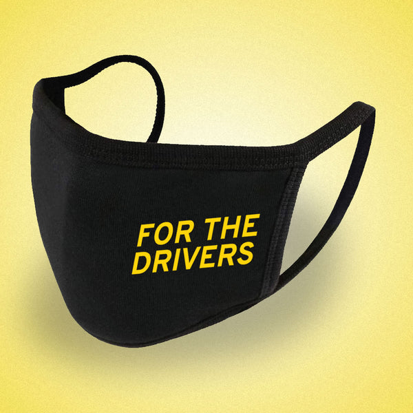 "Lotus-themed ""FOR THE DRIVERS"" fashion mask / face covering"