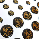 Gold & black 3D Domed Lotus mini-badges