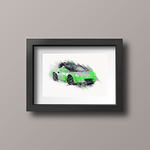 "Lotus Elise S1 - Green / Black - A3/A4 Print ""Splatter"""