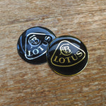 LOTUS chrome silver / gold & black resin domed wheel badge (45mm)