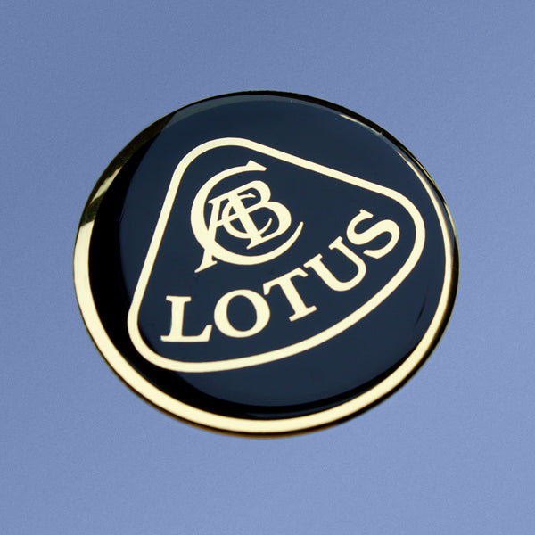LOTUS chrome silver / gold & black resin domed front nose badges (58mm)