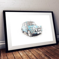 "Classic Mini Cooper - Light Blue - A3/A4 Print ""Sketch"""