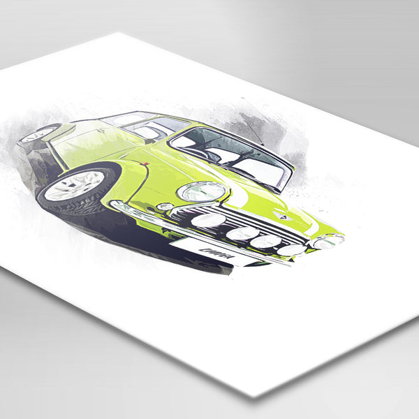 "Classic Mini Cooper - Bright Green - A3/A4 Print ""Splatter"""
