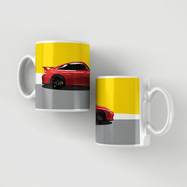 Porsche GT3 - Red / yellow / grey stripe mug