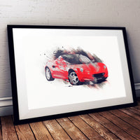 "Lotus Elise S1 - Calypso Red / Silver - A3/A4 Print ""Splatter"""