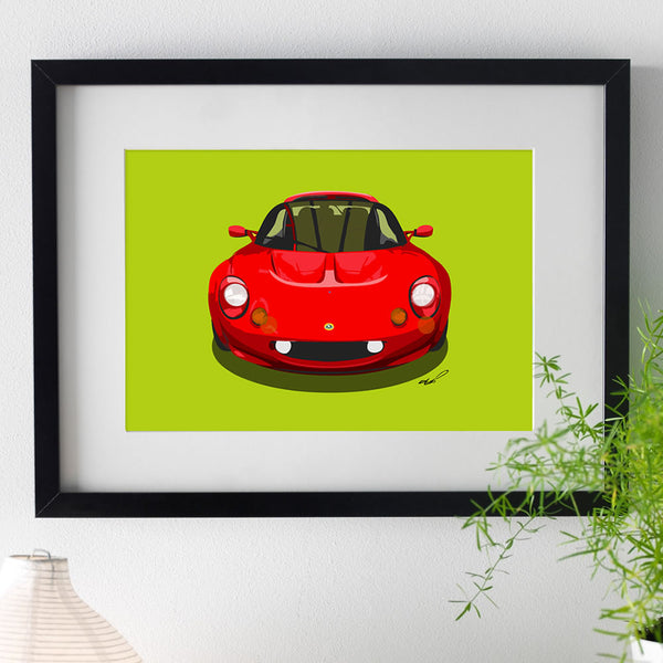 Lotus Elise S1 - red on green - A3/A4 Stylised Print