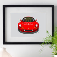 Lotus Elise S1 - red on light grey - A3/A4 Stylised Print
