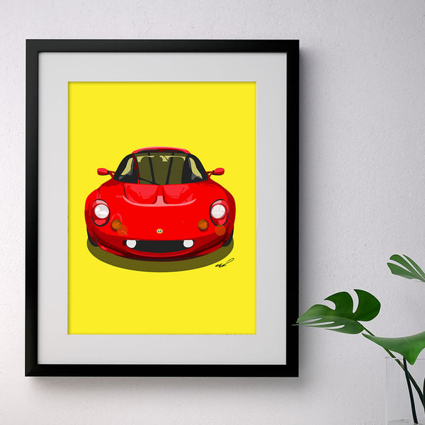 Lotus Elise S1 - red on yellow - A3/A4 Stylised Print