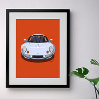 Lotus Elise S1 - silver on orange - A3/A4 Stylised Print