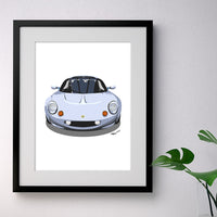 Lotus Elise S1 - silver on white - A3/A4 Stylised Print