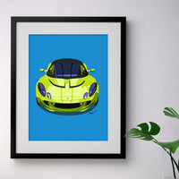 Lotus Elise S2 - bright green on blue - A3/A4 Stylised Print
