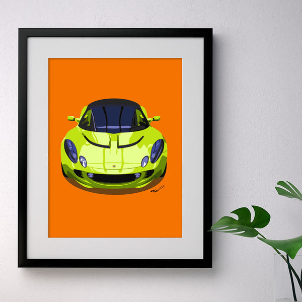 Lotus Elise S2 - bright green on orange - A3/A4 Stylised Print