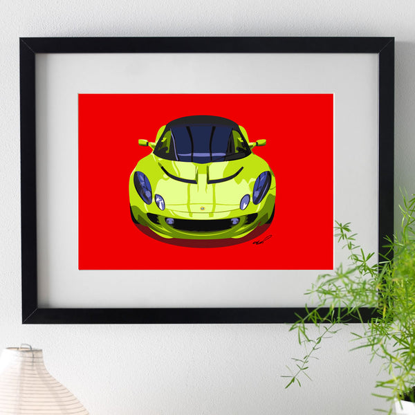 Lotus Elise S2 - bright green on red - A3/A4 Stylised Print