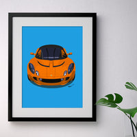 Lotus Elise S2 - orange on blue - A3/A4 Stylised Print