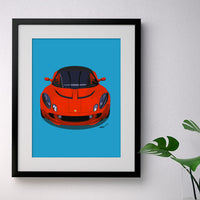 Lotus Elise S2 - red on blue - A3/A4 Stylised Print