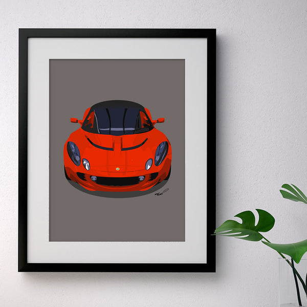 Lotus Elise S2 - red on grey - A3/A4 Stylised Print