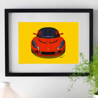 Lotus Elise S2 - red on yellow - A3/A4 Stylised Print