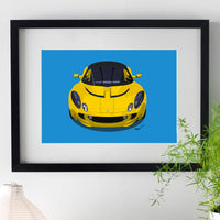 Lotus Elise S2 - yellow on blue - A3/A4 Stylised Print