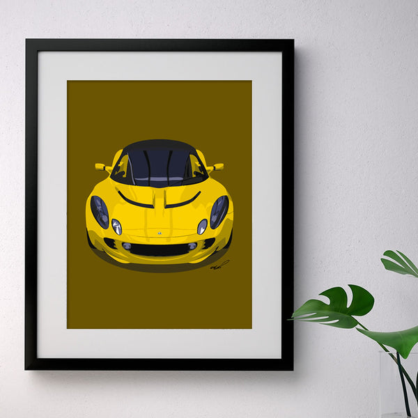 Lotus Elise S2 - yellow on dark mustard - A3/A4 Stylised Print