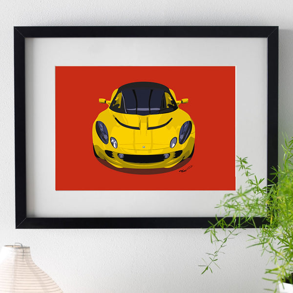 Lotus Elise S2 - yellow on red - A3/A4 Stylised Print