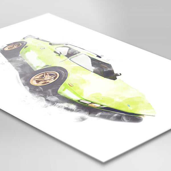 "Lancia Stratos Stradale - Bright Green - A3/A4 Print ""Watercolour"""