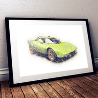 "Lancia Stratos Stradale - Bright Green - A3/A4 Print ""Sketch"""
