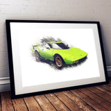 "Lancia Stratos Stradale - Bright Green - A3/A4 Print ""Splatter"""