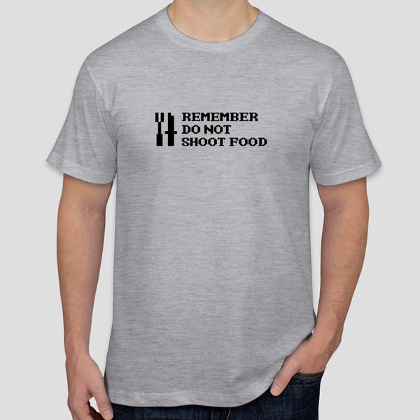 "Retro Gauntlet ""REMEMBER DO NOT SHOOT FOOD"" slogan t-shirt"